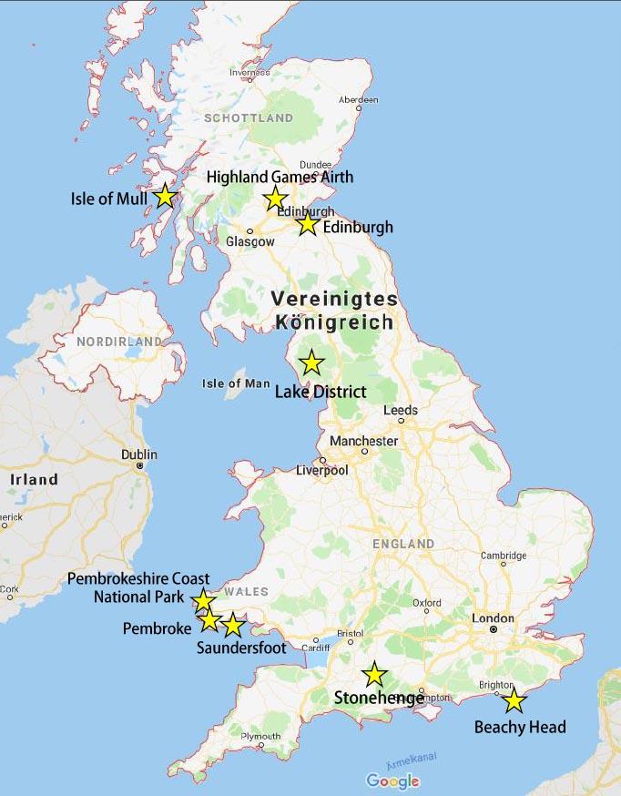 Mit Camper durch Großbritannien - Karte mit Reisehighlights UK