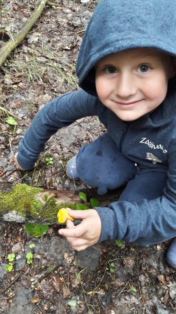Schwiegermutter auf Weltreise in Schweden - Quentin beim Pilzesammeln