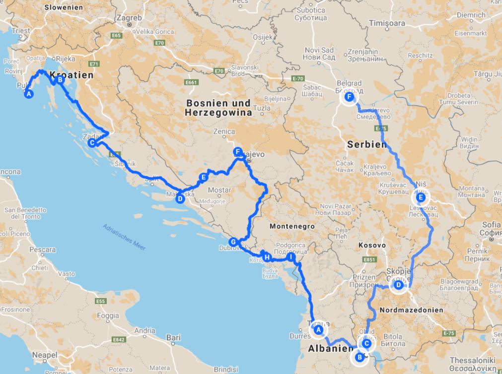 Karte mit unserer Route über den Balkan